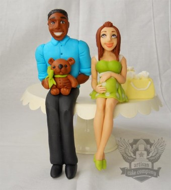 pregnant mom and dad cake toppers