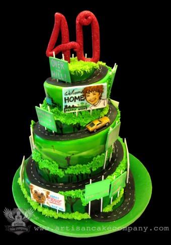 40th Road of Life Birthday Cake