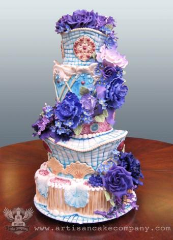 Margaret Braun Inspired Wedding Cake with Sugar Flowers