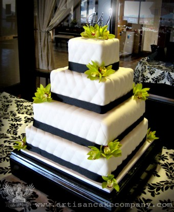 Quilted Four Tier Wedding Cake with Fresh Orchids