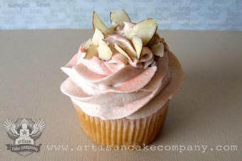 Almond Cupcake with Pear Filling and Toasted Almonds