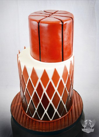 modern Basketball themed wedding cake