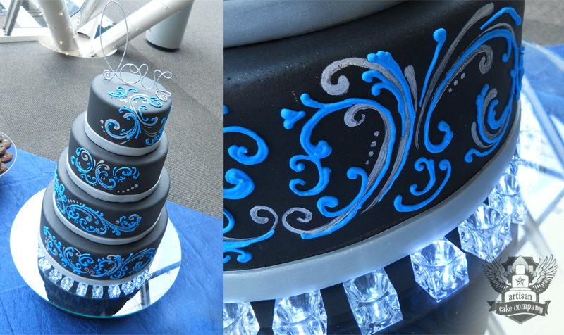 black wedding cake with blue piped scroll work artisan cake company. Black Bedroom Furniture Sets. Home Design Ideas