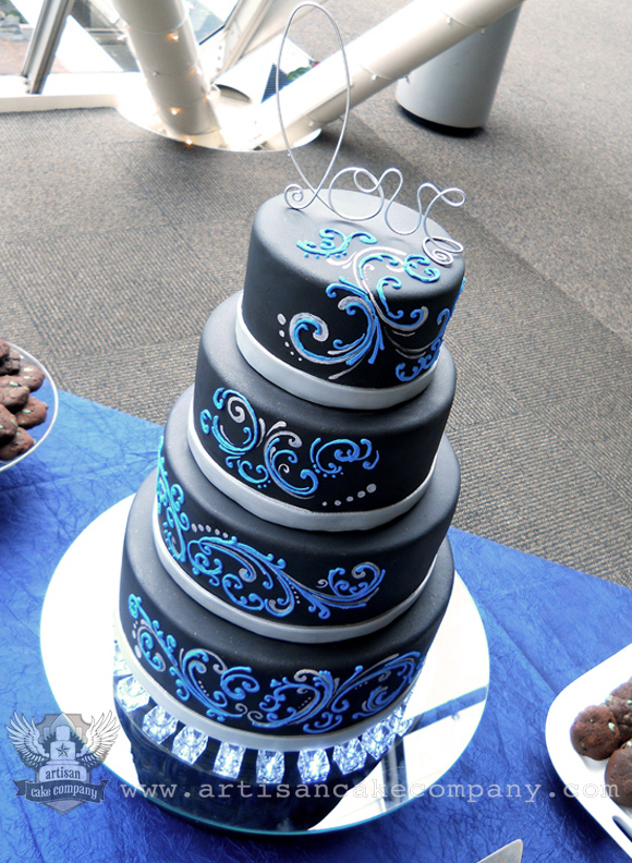 black blue and silver scroll four tier wedding cake artisan cake company. Black Bedroom Furniture Sets. Home Design Ideas