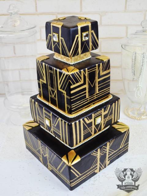 Black and Gold great gatsby wedding cake | Artisan Cake Company