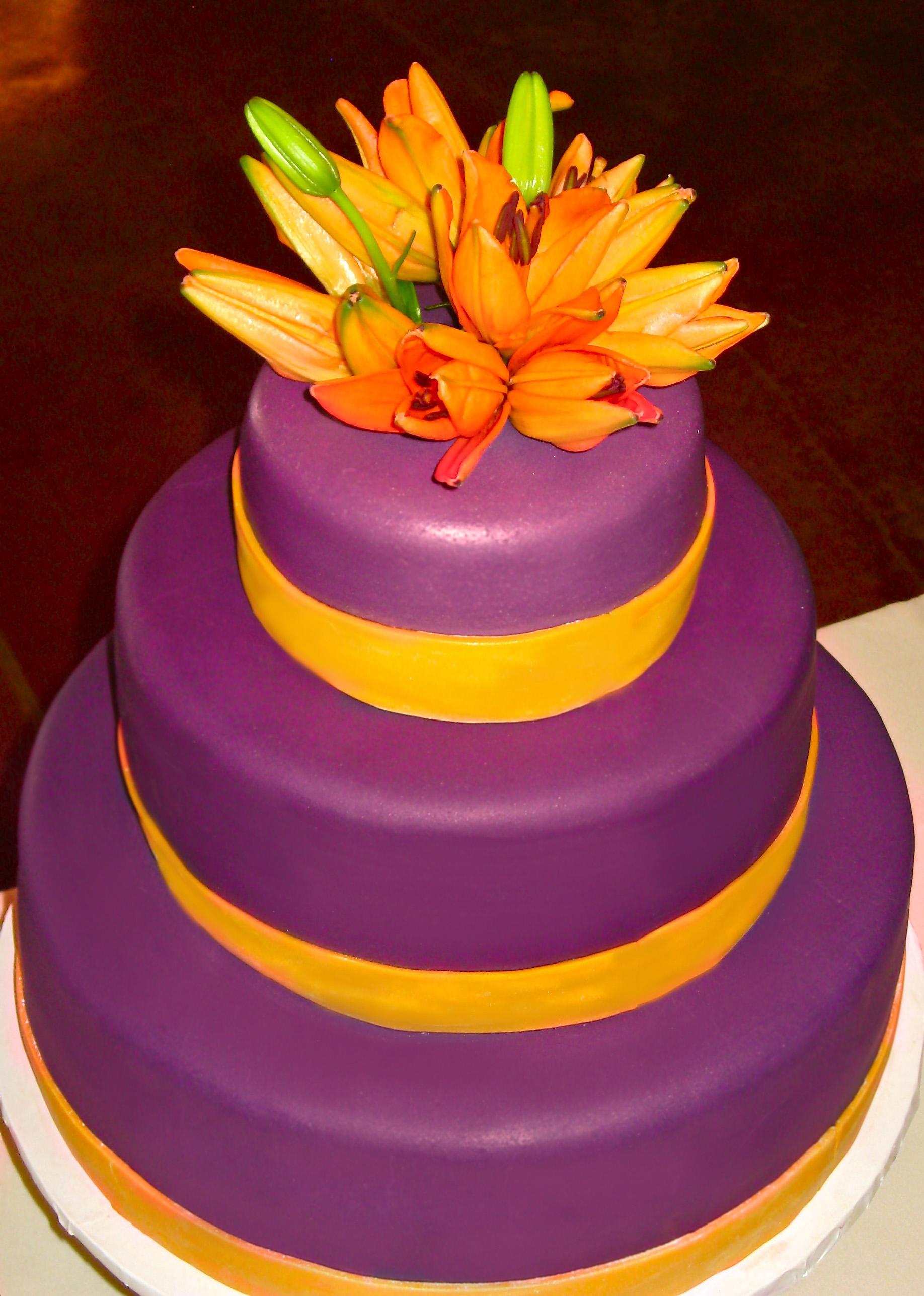 burgundy and citrus wedding cake with fresh tiger lillies | Artisan ...