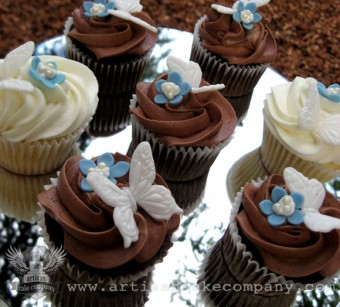 Chocolate and Vanilla Wedding Cupcakes with Edible Butterflies