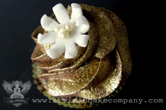 Chocolate Cake with Chocolate Buttercream - Edible Gold Luster Dust - Fondant Flower
