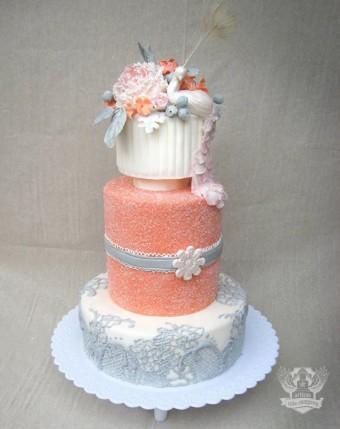 Coral grey peacock wedding cake