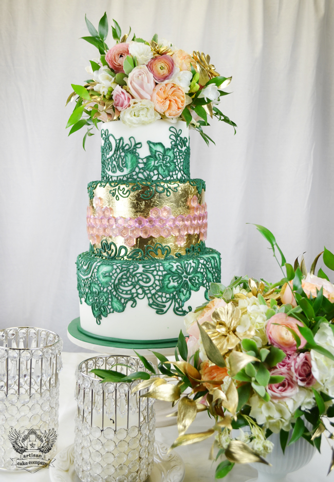 Emerald And Gold Wedding Cake With Pink Sugar Gems And