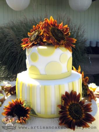 Modern Two Tier Wedding Cake with Fresh Sunflowers
