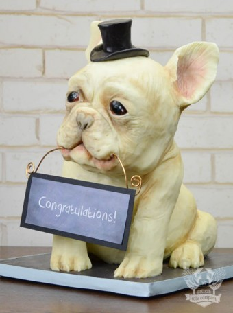 French Bulldog Bridal Shower sculpted Cake