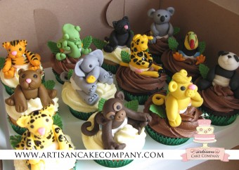 Jungle Animals Baby Shower Cupcakes
