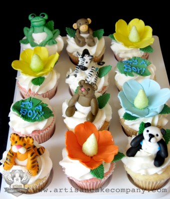 Jungle Animal Baby Shower Cupcakes