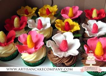 Hibiscus Flower Cupcakes