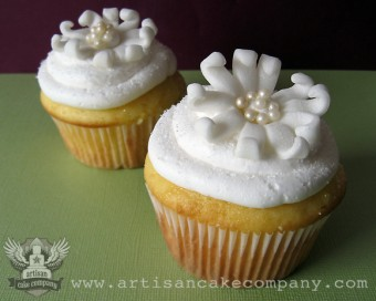Lemon Chiffon Cupcakes with Fondant Flower Toppers