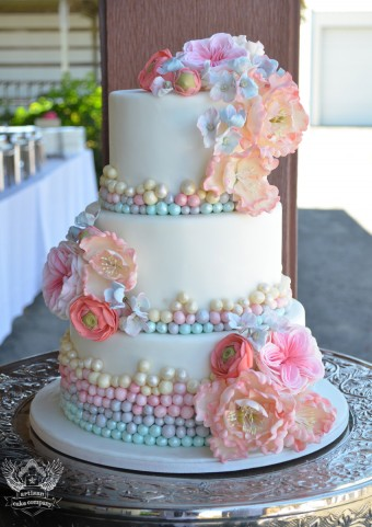 pastels and pearls with sugar flowers wedding cake