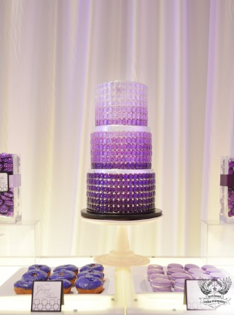 purple and silver ombre jeweled cake
