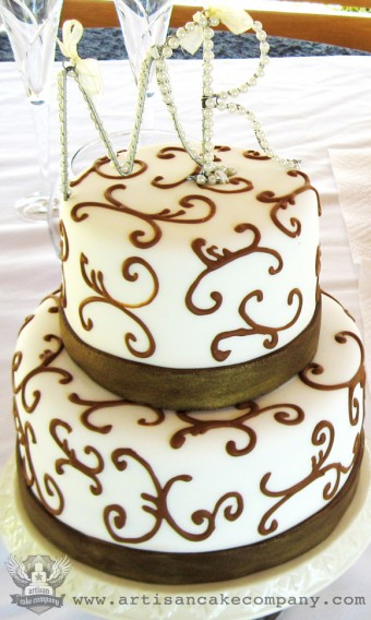 Two Tier Ivory and Brown Scroll Wedding Cake