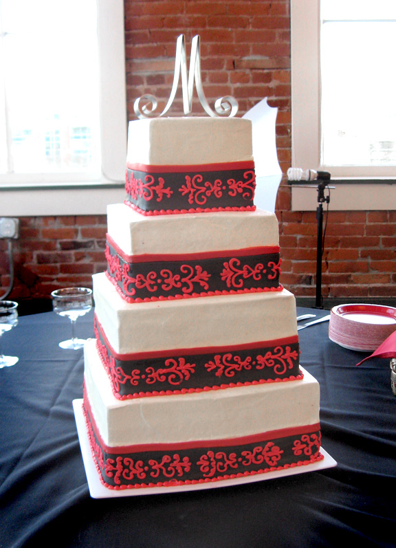 Artisan Cake Company : Four tier black and red damask buttercream wedding cake ...