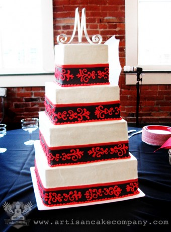 4 Tier Square Wedding Cake with Red and Black Damask
