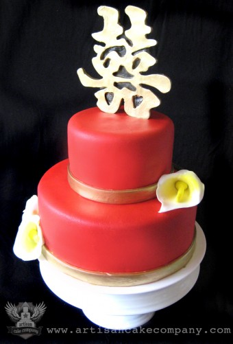 Double Happiness Wedding Cake with Sugar Cala Lillies