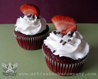 Red Velvet Cupcakes with Cream Cheese Frosting and Fresh Strawberries