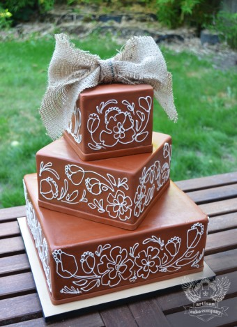 rustic square burlap wedding cake