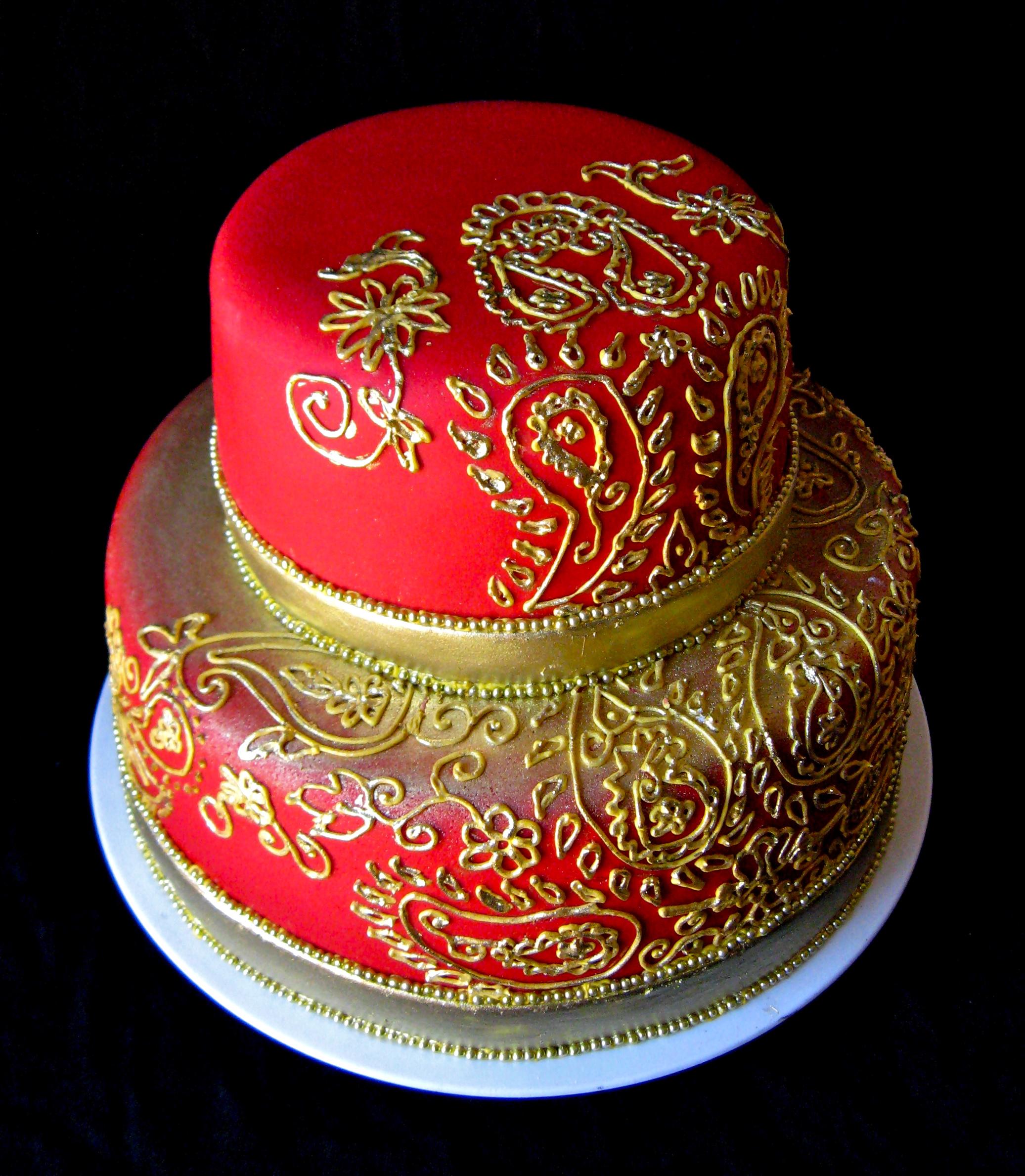 Mehndi Inspired Cake : Mehndi inspired cutting cake for indian wedding artisan