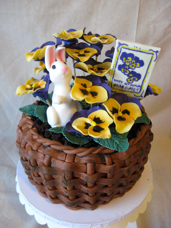 Basket Of Pansies Birthday Cake Artisan Cake Company