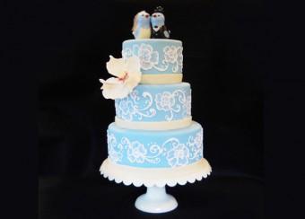brushed embroidery wedding cake with sugar magnolia