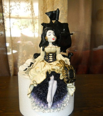 pirate lady ship wedding topper