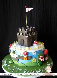 Super Mario Brothers Cake - white cake with peach filling