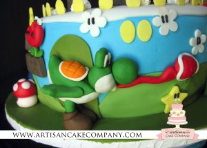 fondant yoshi for super mario brothers cake