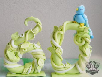 60th vines topper with blue bird