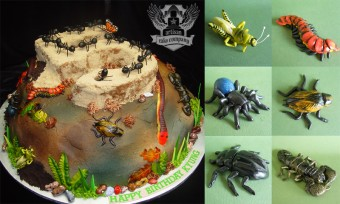 Fondant bugs toppers