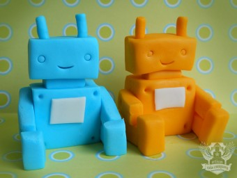 robot baby shower toppers