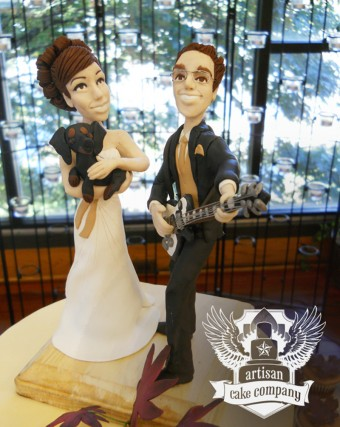 Guitar and puppy custom wedding topper