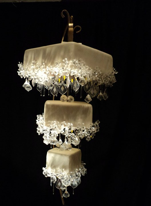 vintage c. 1920's electric light five tier crystal cut glass