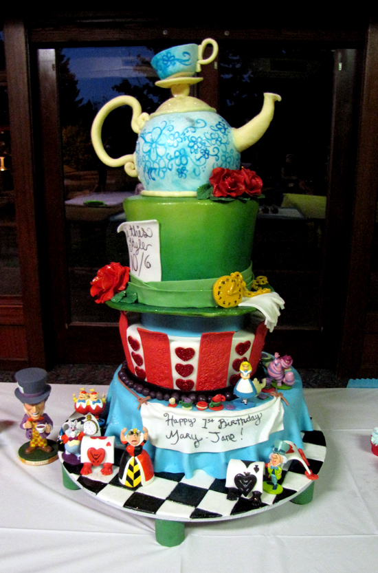 Alice in wonderland themed specialty birthday cake for a one year olds