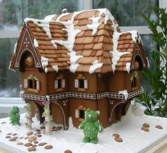 Brown Gingerbread House with Snow on Rooftop