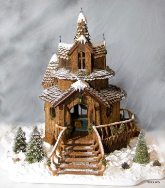 Rustic Gingerbread House with Snow