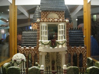 Gingerbread house with lattice gate and gazebo