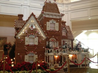 Large gingerbread house with lights