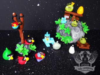 angry birds space edible fondant cake toppers