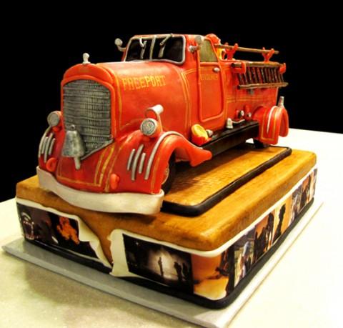 Vintage Firetruck Birthday Cake
