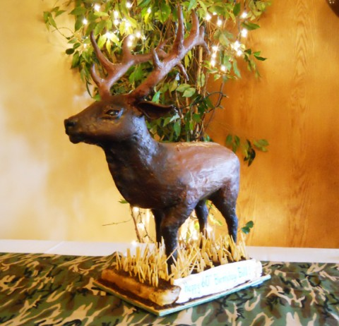 Sculpted 3D elk birthday cake