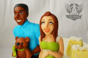 Man and woman baby shower toppers