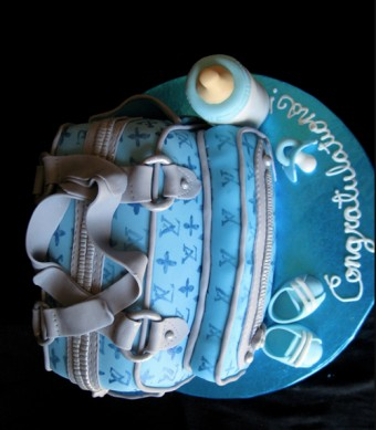 awesome diaper bag cake for a little boy