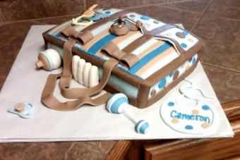 brown and blue diaper bag cake for a boy